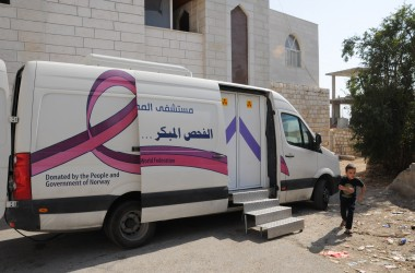 The Lutheran World Federation's Augusta Victoria Hospital operates a Mobile Mammography Unit which strives to identify women with breast cancer at an early stage so they may be referred to AVH for treatment with better outcomes. Photo by M. Brown
